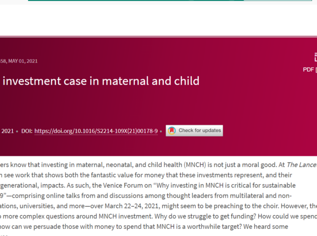 New Editorial: Progressing the Investment Case in Maternal and Child Health